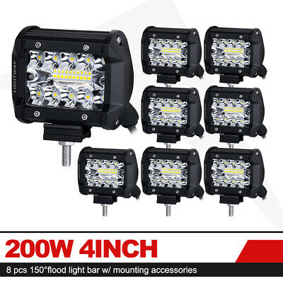 8x 4 inch 200W Cree LED Light Bar Spot Flood Combo Beam Triple Row Driving Lamps