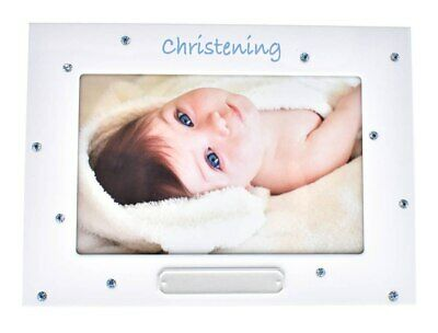Boy's christening photo frame with crystal design
