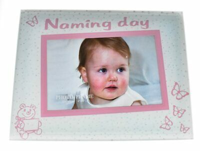 Pink glass naming day photo frame for baby girl