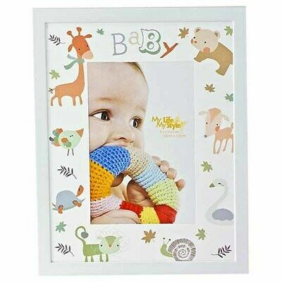 Babys animal print photo frame holds 4x6 inch picture