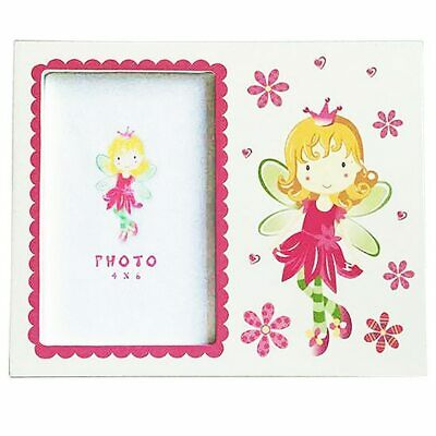 Pink and white fairy theme photo frame hold 4x6 inch picture