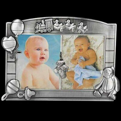 Pewter photo frame for twins holds two 4x6 inch pictures