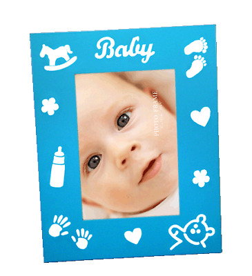 Blue babys photo frame with baby theme imprints holds 4x6 inch picture