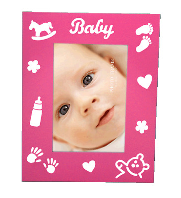 Pink babys photo frame with baby theme imprints holds 4x6 inch picture