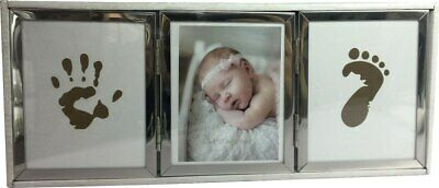 Baby photo frame silver with hand and foot print facility with ink pad