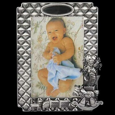 Pewter baby photo frame with train & rocking horse design engravable space