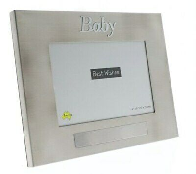 Baby pewter photo frame with engravable space holds 4x6 inch picture