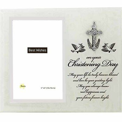 Christening glass photo frame holds 4x6 inch picture