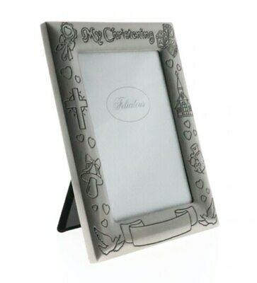 Christening pewter photo frame with engravable space 4x6 inch picture
