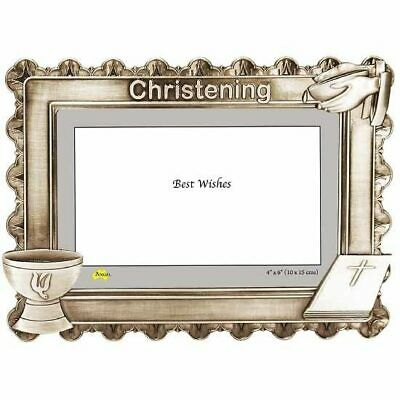 Christening photo frame antique pewter cast holds 4x6 inch picture