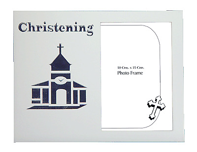 Christening photo frame white wooden holds 4x6 inch picture