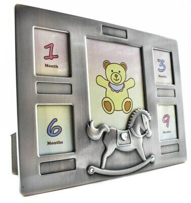 Babies first year collage pewter photo frame
