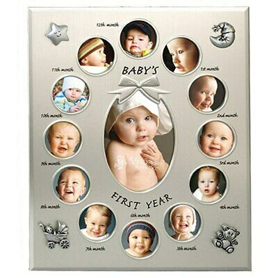 Pewter babys first year collage photo frame