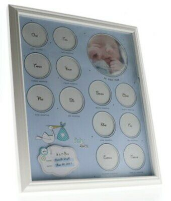 Blue babys first year collage frame for boys