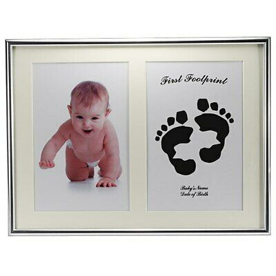 Silver baby hand footprint frame kit comes with ink pad