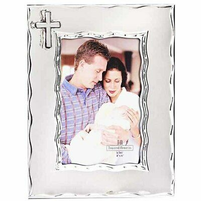 Photo frame religious cross 2 tone silver enamelled design 4x6 inch picture