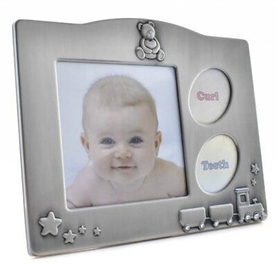 Babies pewter photo frame with tooth & curl keepers