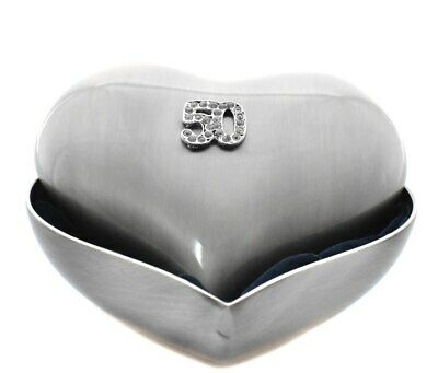 Jewellery box pewter heart shaped for 50th birthday