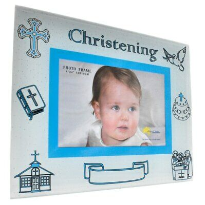 Blue glass christening photo frame for boys with engravable space, holds 4x6 ...
