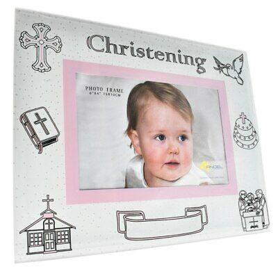 Pink glass christening photo frame for girls with engravable space, holds 4x6...
