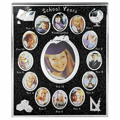 Black and silver glitterd school years photo frame collage, kindergarten to y...