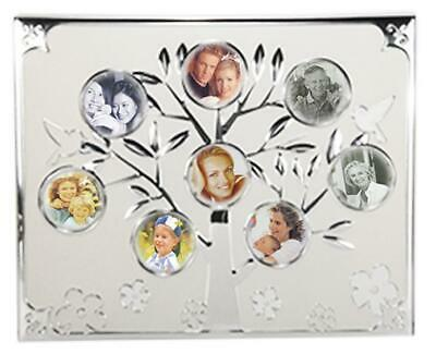 Silver family tree collage photo frame