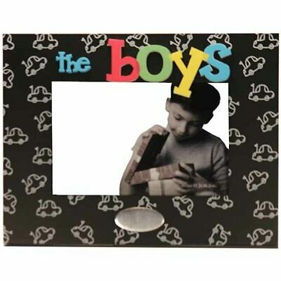 Wooden 'the boys' photo frame with engravable space, holds 4x6 inch picture