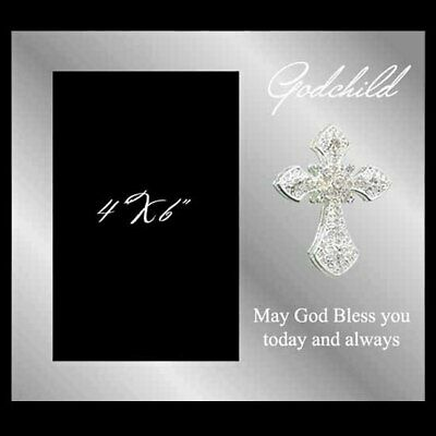 Glass god child photo frame with a crystal cross, holds 4x6 inch picture