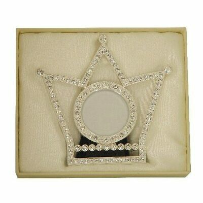 Crown shape photo frame with crystals, holds 3x3 inch picture