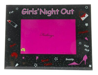 Black and Pink glittered girls night out photo frame with red decals, holds 4...