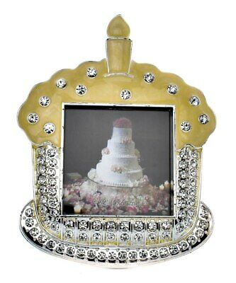 Birthday picture frame cake shaped 1st birthday crystal design holds 2x2 inch...
