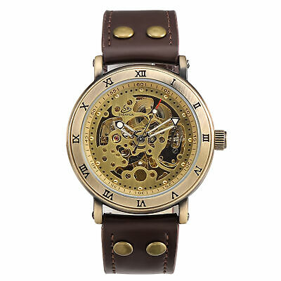 Vintage Bronze Skeleton Dial Auto Mechanical Me Wristwatch Genuine Leather Strap
