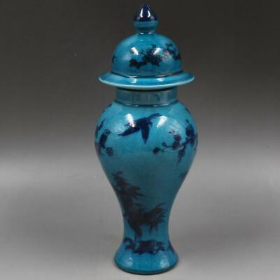 Chinese ancient antique hand make Blue glaze vase QIANLONG mark s99