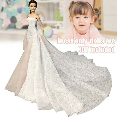 White 11.5 Inches High Fashion Wedding Dress for Doll Clothes Party Gown Beauty