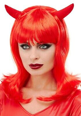 Ladies Red Devil Wig & Horns Halloween Fancy Dress Costume Outfit Accessory