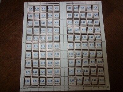 France Feuille Complete 100 Timbres Fictifs F193 Neufs**. Cote 100 Euros