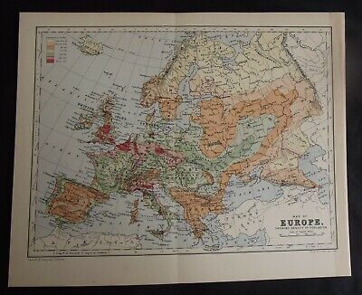 Antique Map: Europe Showing Density of Population by W & A K Johnston, c 1900