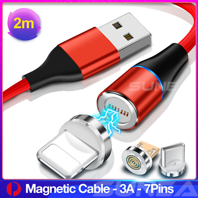 360° Magnetic Lightning Cable/Micro/Type C to USB Fast Charging Charger Cord 2M