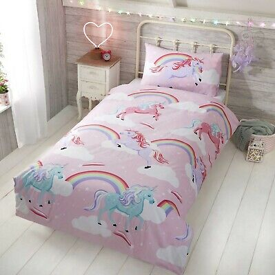 My Little Unicorn Toddler Cotbed Duvet Cover Quilt Bedding Set Pink Purple Lilac