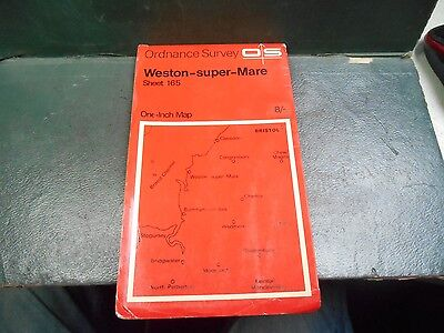 """vintage one inch paper O/S map sheet 165 """"Weston-Super-Mare"""""""