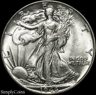 1946 Walking Liberty Silver Half Dollar ~ AU About Uncirculated ~ US Coin