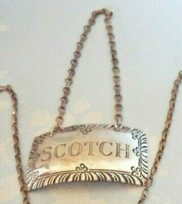 Vintage Stieff Sterling Silver Williamsburg -SCOTCH - Liquor Decanter Tag Label