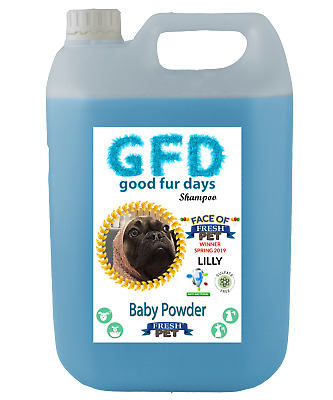 Fresh Pet Shampoo GFD Conditioner Dog Puppy Grooming - Baby Powder 5 Litres