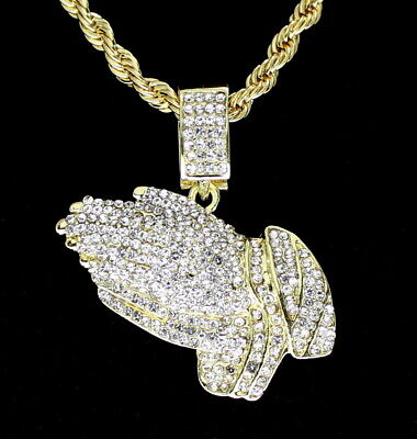 """Icy Praying Hands Cz Pendant 14k Gold Plated 24"""" Rope Chain Hip Hop Necklace"""