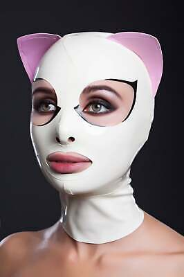 Latex Gummi Hoods Cat Mask With Eyelashes And Pink Ears Unique Customized 0.4mm