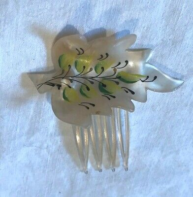 Sweet Vintage Plastic Hand Painted Faux Mother of Pearl Leaf Shape Hair Comb