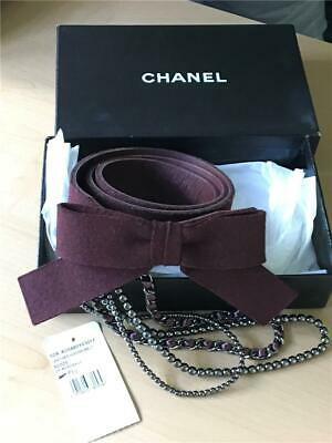 Chanel 02A Burgundy Woo/Leather Bow Belt With Gunmetal Chain & Pearls, 90/34-35