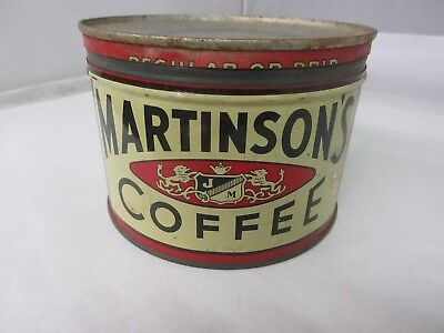 Vintage Martinson's Coffee Tin Advertising Collectible Graphics M-81