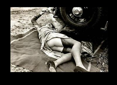 Sexy Girl Stockings PHOTO Car Repair, Flapper Gorgeous Heels Hot Legs 1920s