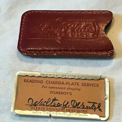 Nice Vintage Reading (PA) Charge Card Plate Pomeroys' Dept Store In Case